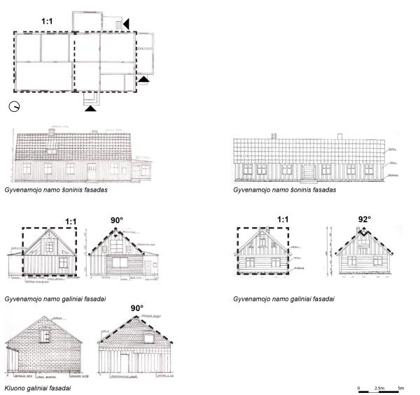 Sodybų nr. 1 ir nr. 2 pastatai